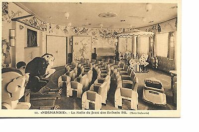 Ss Normandie French  Line   Ocean Liner Linen  Postcard Childrens Playroom
