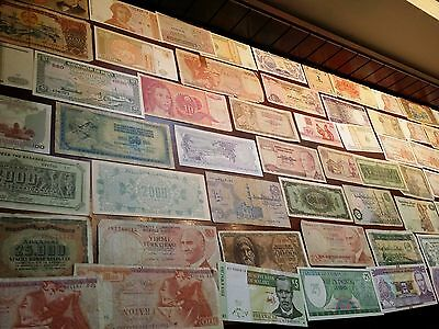 70 bank notes World Banknote collection all you see plus extra notes bulk lot