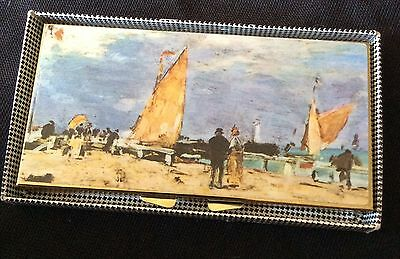 Vintage Mirror Compact Rectangle Seaside Picture On Top Gold Colour Metal