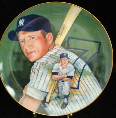 Rare-Mickey Mantle Plate # 465/1000- Hand Signed In Gold---Marigold Co. 1983