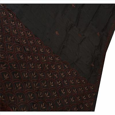 Sanskriti Antique Vintage Indian Saree 100% Pure Silk Hand Beaded Black Fabric
