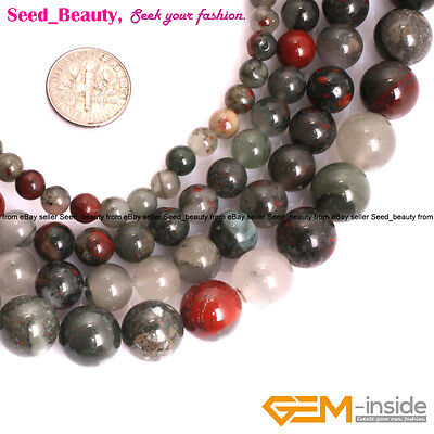 AAA Grade Natural Round Africa BloodStone Beads for Jewelry Making Strand 15''