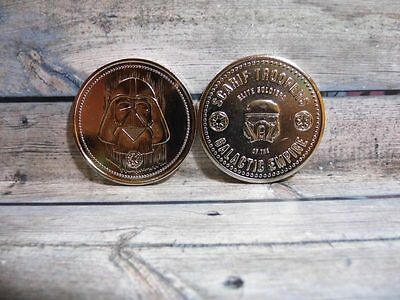 2 pcs ! Star Wars Darth Vader and Elite Soldiers Rogue One Medallion Coin_y44