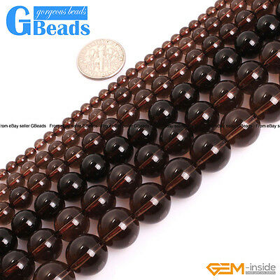 """Natural Stone Grade AAA Clear Brown Smoky Quartz Round Beads Free Shipping 15"""""""