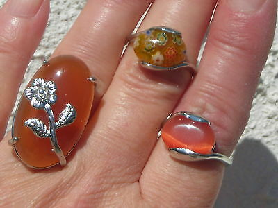 Closing Sale! Lot Of 3 Cocktail Rings Autumn Colors Agate, Millefiori, Cat's Eye