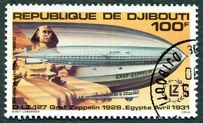 DJIBOUTI 1980 100f SG797 used NG First Zeppelin Flight Anniv AIRMAIL c #W29