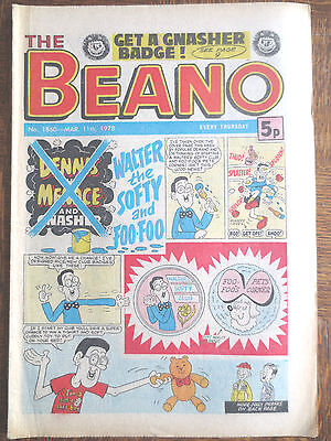 THE BEANO UK COMIC  March 11 1978 # 1860 Original Vintage Birthday Gift