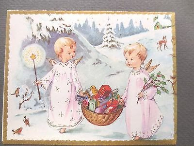Vintage CHRISTMAS Card Two Little Angels Cherubs with Basket of Presents Snowy