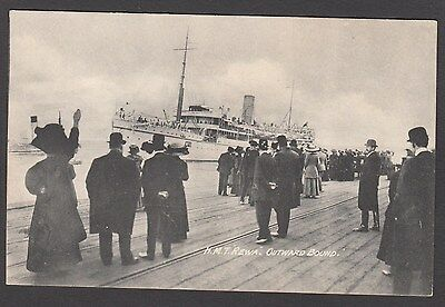 Postcard troopship HMT Rewa titled Outward Bound shipping