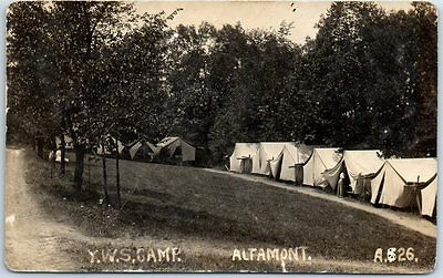 Altamont, New York RPPC Real Photo Postcard Y.W.S. CAMP Tents View 1915 Cancel