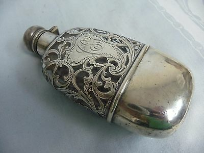 "ANTIQUE WHISKEY FLASK w/STERLING OVERLAY & HINGED TOP - MONOGRAMMED ""CG"""