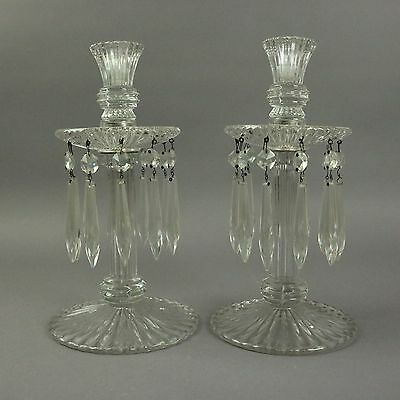 Antique Pressed Glass Candlesticks with Prisms