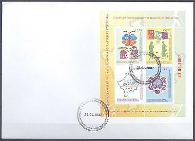 Kosovo 2007 Fdc S/s Convention On Rights Of Persons With Disabilities Very Fine