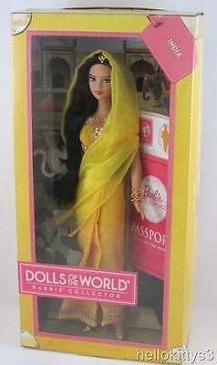 Pink Label NRFB Barbie .. Passport Dolls of the World  .. INDIA .. with Monkey