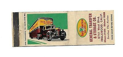 North American Van Lines    Matchcover   Old Moving Truck