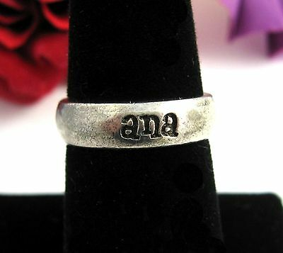 ANA Name BAND RING Vintage Silvertone Metal Size 7 Costume Jewelry