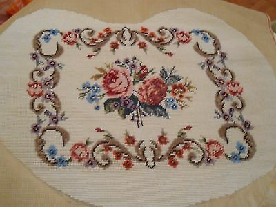 Beautiful Vintage Completed Tapestry Floral Design Wool on Canvas   (H)