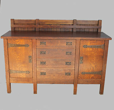 Antique Rare Gustav Stickley eight legged Mission Oak sideboard buffet - Arts &