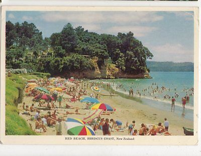 Red Beach Hibiscus Coast New Zealand 1972 Postcard 448a