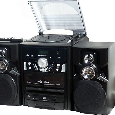 Home Stereo System 3 CD Player Multi Disc Turntable Dual Cassette Recorder Radio