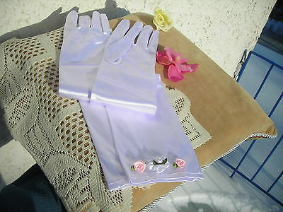 On Sale!! Wedding /bridal White Satin Stretchable Long Opera Gloves W Flowers