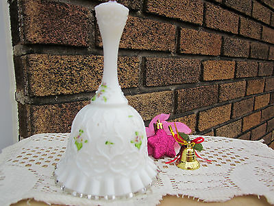 Closing Store Sale! Adorable Vintage Milk Glass Floral Handpainted Bell, Signed