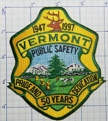 """Vermont Public Safety Police Dept 50 Year 4.5"""" Patch"""