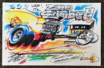 2017 Kenny Youngblood Signed Lions Drag Strip Zane Schubert Dragster Cartoon