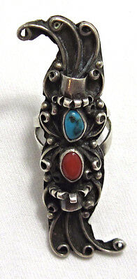 Old Pawn Long Vintage Sterling Silver Turquoise Navajo Knuckle Ring Sz 6  BE219