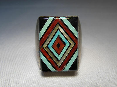 ESTATE Heavy ZUNI Turquoise Onyx Coral MOP Inlay Sterling Mens Ring Sz 10 C490