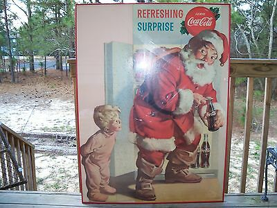 """1959 Coca Cola Santa Claus Cardboard Stand Up Sign """"Refreshing Surprise""""  Framed"""