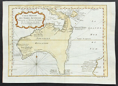 1753 Bellin Old, Antique Important Map of Continent of Australia w/ New Zealand