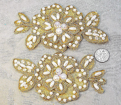 2 pieces Beaded Pearls Crystals Gold Rose Appliques Lace 2.5 x4.5 in.