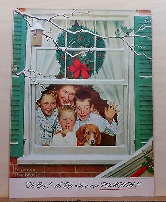 1951 magazine ad for Plymouth - Norman Rockwell, happy family Christmas morning