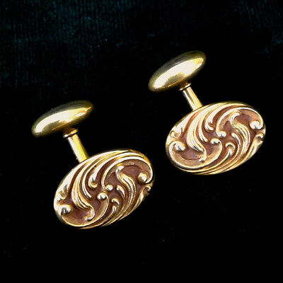 Cuff Links 14 K Gold Antique Art Nouveau Repousse Scroll  Bean Back  Cufflinks