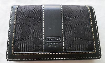 COACH Black Canvas & Leather Signature Credit Card Holder Pouch