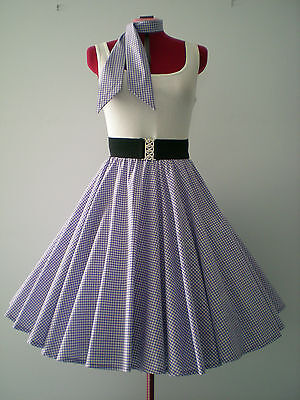 "ROCK N ROLL/ROCKABILLY ""Check"" SKIRT-SCARF S-M Purple/White."