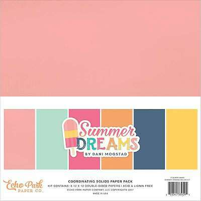 "Echo Park Double-Sided Solid Cardstock 12""X12"" 6/Pkg Summer Dream 653341339294"