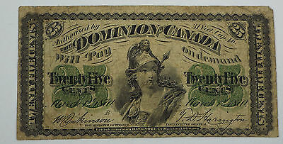 1870 Dominion of Canada 25 Cents Shinplaster - Series B - Fractional