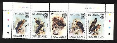 Swaziland No. 427- Strip of 5 Bird Stamps VF MNH: Cat. Value $ 25.00 (F25)