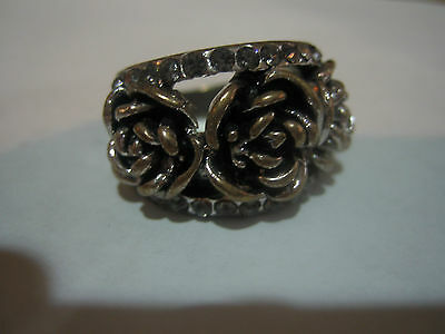 New!! Vintage Tibet Silver Rose Cz Ring, 7