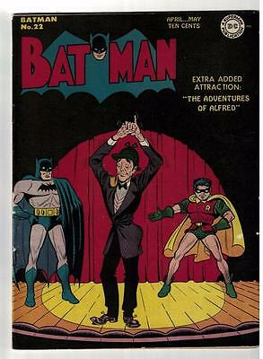 DC Comics BATMAN Golden age #22 Skinny Alfred  1944 FN+ 6.5 Classic Cover