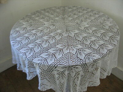 VINTAGE HAND KNITTED LACE SHAWL/TABLECLOTH -  LEAVES PATTERN 65 x 65 INCHES