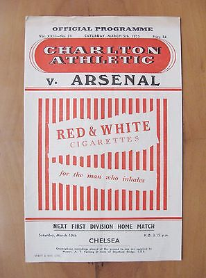 CHARLTON ATHLETIC v ARSENAL 1954/1955 *Excellent Condition Football Programme*
