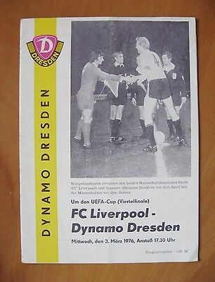 DYNAMO DRESDEN v LIVERPOOL UEFA Cup 1975/1976 *VG Condition Football Programme*