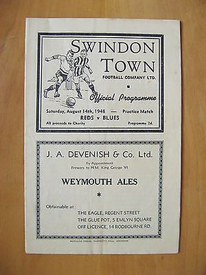 SWINDON TOWN - Reds v Blues Practice Match Friendly 1948/1949 Exc Cond Programme