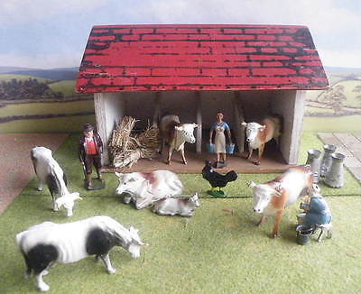 early 54mm lead Farm COWS + MILKMAIDS + COWSHED + CHURNS Taylor & Barrett