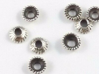 10 x Sterling Silver 925 Antiqued 6mm Decorative Bead Caps S171
