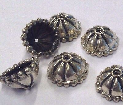 6 x Ornate 6mm Sterling Silver Oxidized Bead Caps S165