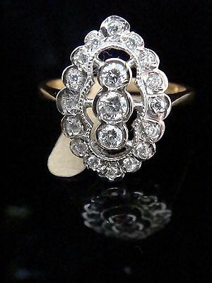 Edwardian Style 18Ct Yellow Gold On Silver Cuubic Zirconia Ring